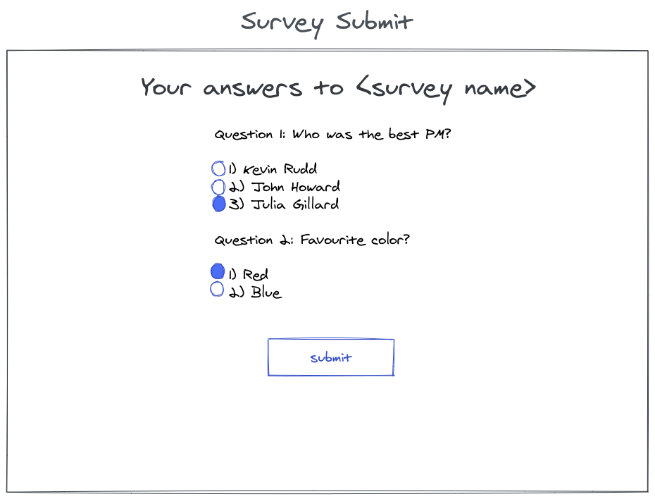 survey answering page